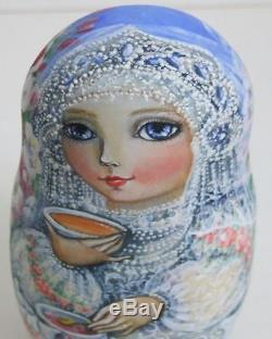 5pcs Hand Painted One Of A Kind Russian Nesting Doll Tea Time By Olga Molotova