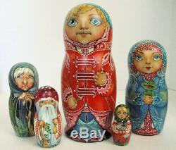 5pcs. Hand Painted Russian Nesting Doll A Story of BaBA Yaga, by Loginova