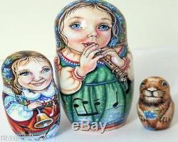 5pcs One of a Kind Russian Nesting Doll Beethoven & The Groundhog