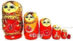 6X Russian Red Wooden Matryoshka Babushka Nesting Female Doll Hand Painted Toy