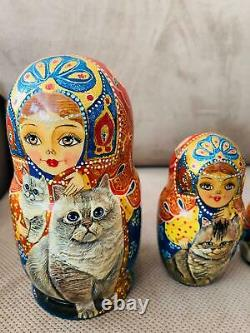 6 Russian Matryoshka 5 Piece Nest Doll CATS Crafts Painted USSR Russian Sign