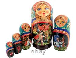 7 Collectible Russian Hand Painted Matryoshka Doll Fairy Tales Firebird 5pcs