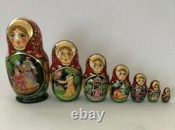 7-Piece Russian Traditional Handmade Nesting Doll Tsar Sultan Fairytale