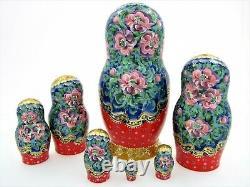 7 Poupées russes H22 peint main signé Matriochka Gigogne Russian Doll Matryoshka
