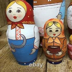 7 Russian Nesting Dolls With Rooster Matryoshka Hand Painted Signed By Zamanova