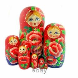 7 nesting Dolls Large Russian Matryoshka Poppy Flowers, Cute Faces 8 Tall