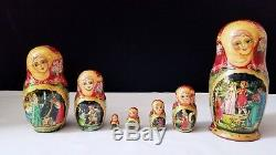 7 pc Large Russian Nesting Dolls Matryoshka Signed
