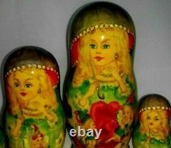 7p RUSSIAN 9 NESTING WOODEN DOLL FAIRY TALE MATRYOSHKA BABUSHKA MATRESHKA