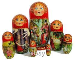 7pcs. Exclusive Russian Nesting Doll Magic Wild Geese Fairy tale By L Semenova