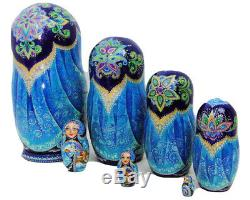 7pcs One of a Kind Hand Painted Russian Nesting Doll Mermaids by Ilyukova