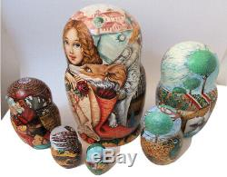 7pcs One of a Kind Russian Nesting Doll Knights & Dragons by Larisa Chulkova