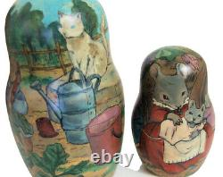 7pcs One of a Kind Russian Nesting Doll Rabbits & Mice Family by Polina Shpack