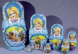 8 Gorgeous Russian Winter Matryoshka Nesting Dolls Fedoskino Miniatures 7pcs