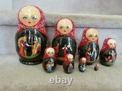 8 Nesting Wood Matryoshka Dolls Russia Signed Hand Made Painted Black Lacquer