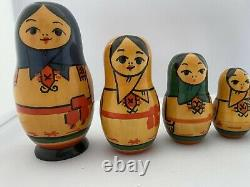 9 Piece Vintage Wood Russian Matpewka Matryoshka Nesting Doll OTK-3 Rare