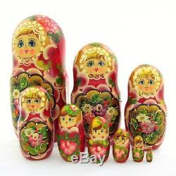 9 Poupées russes H21 Matriochka peint main signe Russian Nested Doll Gigognes