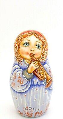 ANGELS Matryoshka Russian nesting dolls GIRLS hand painted 5 signed Pokrovskaya
