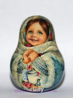 ART roly poly author doll Russian matryoshka WINTER girl FIRST SNOW no nesting
