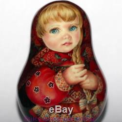 ART roly poly author doll Russian matryoshka girl BEAUTY in RED no nesting