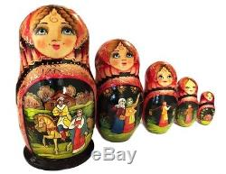 AUTHENTIC Russian 5 Piece Fairy Tale Matryoshka Babushka Nesting Stacking Doll