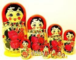 Alkota Russian Genuine Rare Collectible Nesting Doll Semenovo, 10.5