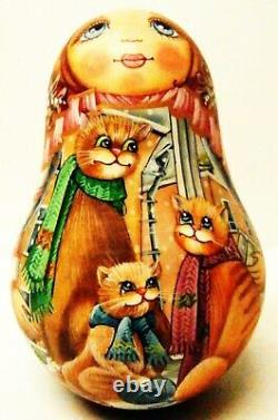 Alkota Russian Genuine Wooden Collectible Musical Doll Girl with Cats, 5.5-6