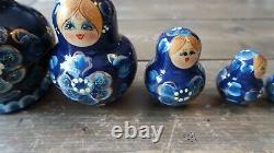 Amazing 10 Piece Vintage Artist SIGNED Russian Matryoshka Nesting Dolls 5.5