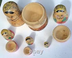 Antique Original USSR Set Of Wooden Matryoshka Babushka Nesting Russian Dolls