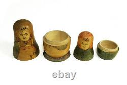 Antique Russian matryoshka. Two figures. Old nesting doll