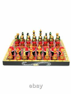 Art Russian Chess Set Hand Painted Style Of Nesting Khokhloma Doll