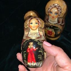 Artist RUSSIAN NESTING BABUSHKA DOLLS SET OF 5 SIGNED HAND PAINTED 7