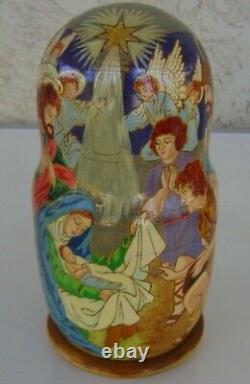 Authentic RUSSIAN NESTING DOLLS 7 Dolls 8 Jesus Mary Joseph Wise Men Angel 1998
