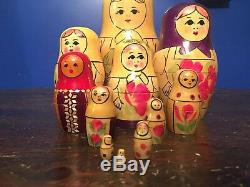 Authentic Russian Matryoshka Dolls 12 piece set (Antique Vintage 50 Years)10in