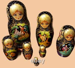 Authentic Signed Russian Hand Made/Painted Nesting Doll Folktale Frog Prince 12p