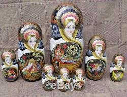 Author matryoshka, 30 pcs, 47cm (18.6), lacquer miniature, the artist's signature