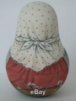 Author's 1 kind russian roly poly nesting matryoshkas dolls Artist Usachova