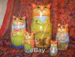 Author's russian matryoshka Domestic cats family