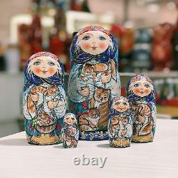 Author's russian matryoshka Girls with cats