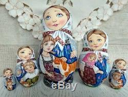 Author's russian matryoshka Kids with cats