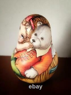 Author's russian matryoshka Rolly Polly Bell Doll Amalia with a bear