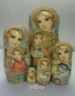 Author's russian matryoshka Russian girls with kids