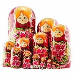 Azhna Russian Matrioshka 15pcs 30cm Wooden Babushka Stacking Nesting Doll Red