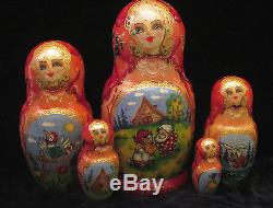 BEAUTIFUL RUSSIAN NESTING DOLL GINGER MAN 5 PCS SIGNED 7 TALL 2000-s
