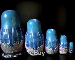 Beautiful Russian Fedoskino Style Nesting Doll Ballet Signed 5 Pcs H 4.5