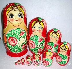 Beautiful Russian Nesting Doll10pc10.5GORGEOUSHUGEMADE IN RUSSIA