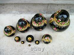Beautiful Vintage Russian Nesting Dolls 10 Piece Wood Hand painted