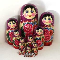 Big Russian Semenov Nesting dolls purple Matryoshka set 15 pcs. (h=12) #8-2