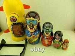 Brand New Russian Nesting Doll Beatles Yellow Submarine