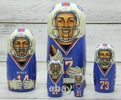 Buffalo Bills Football NFL Sport Doll 7.08 Hand Painted Russian Nesting 5pcs