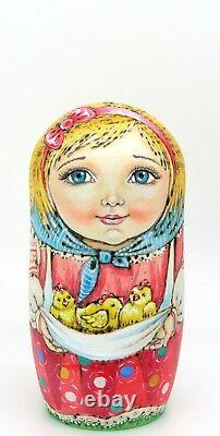 CHMELEVA Matryoshka Russian Nesting Dolls 5 PYROGRAPHY EASTER GIFT Girls Chicken